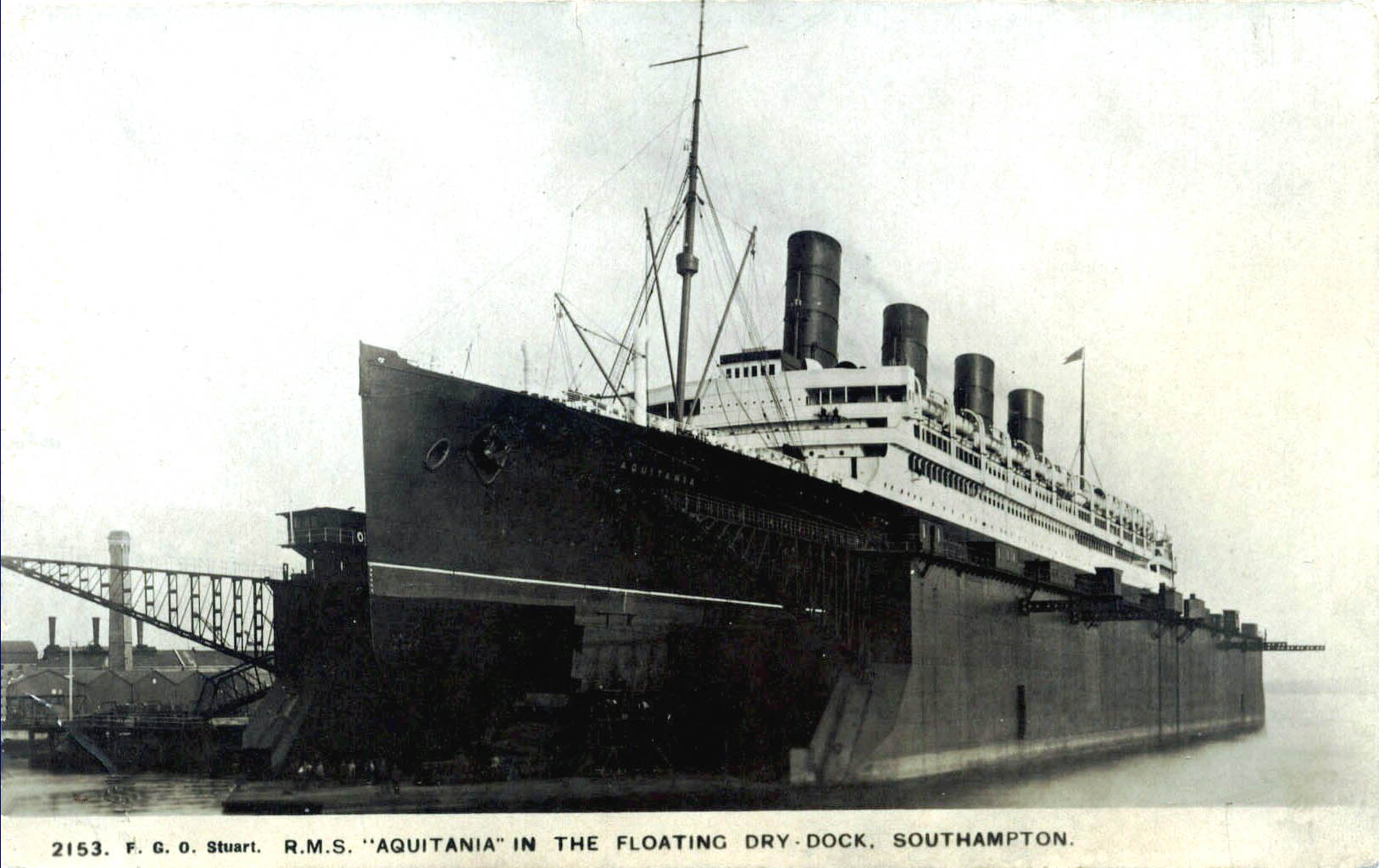 Aquitania in dry dock